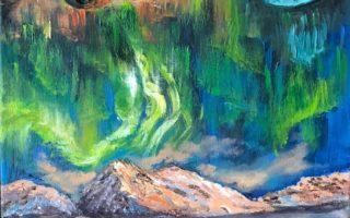 Imaginacija 7 – Aurora Borealis,  akril na platnu,  60×40,  2018.