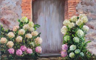 Hortenzije,  akril na platnu,  40×30,  2018