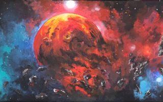 Duboki svemir2. akril na platnu,. 30×60, 2017