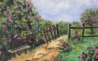 Vrt jorgovana, akril na platnu, 30×40, 2017